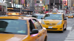Times Square NYC Taxi Cabs Stock Footage