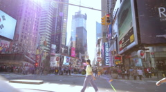 Times Square People Traffic and Billboard Displays Stock Footage