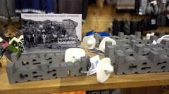 souvenir,iceland rock,carved from iceland,Reykjavik gift shop - stock footage
