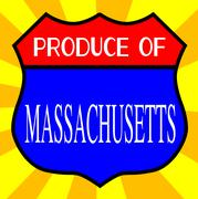 Produce Of Massachusetts Shield - stock illustration