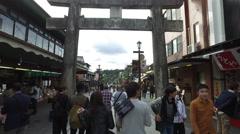 Torii Gate on Shopping Street in Daifuzu, Japan Stock Footage