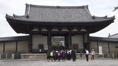 Students at Horyuji in Nara, Japan Stock Footage