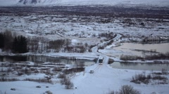 Classic golden circle tour,winter view and gray line bus,iceland Stock Footage