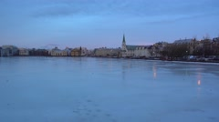 Reykjavik downtown Tjörnin lake,national gallery and city view,iceland,winter Stock Footage