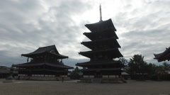 Pagoda and Hall at Horyuji in Nara, Japan Stock Footage