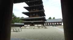 Pagoda at Horyuji in Nara, Japan Stock Footage