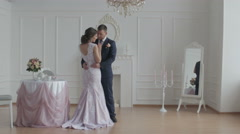 Stock Video Footage of Happy groom and bride. Happy and cheerful wedding couple showing tender feelings