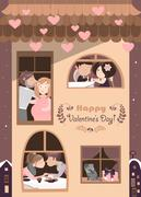 House full of couples in love Stock Illustration