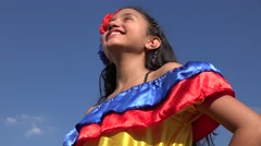 Girl Wearing Traditional Colombian Dress - stock footage