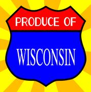 Produce Of Wisconsin Shield - stock illustration