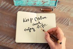 Stock Photo of Motivational concept with handwritten text KEEP CALM AND ENJOY LIFE