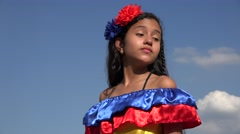 Sassy Girl Wearing Traditional Colombian Dress Stock Footage