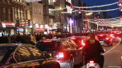 Traffic at Christmas in Amsterdam Stock Footage