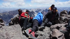 Climbers are on the top of the mountain (Group, editorial) Stock Footage