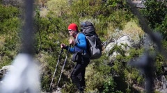 Hiker on the rout in Patagonia (Chile, editorial) - stock footage
