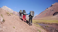 Hikers on the rout to Aconcagua in Argentina (editorial) - stock footage