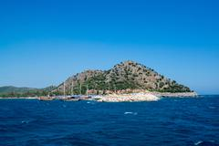 Kemer, Turkey -  06.20.2014. Pleasure boats for a tourists near the pier - stock photo