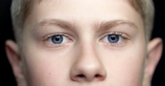 4K child's face 11-12 years , extreme closeup - stock footage