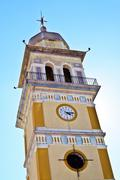 Clock Tower of the church of Agia Triada in Messo Gerakari, Zakynthos, Greece Stock Photos