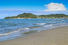 A sandy beach in Zakynthos Stock Photos
