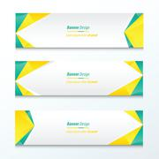 Abstract Triangle Banner  Green And Yellow Stock Illustration