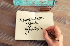 Motivational concept with handwritten text REMEMBER YOUR GOALS - stock photo