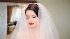 Looking into the camera beautiful bride - stock footage