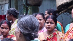 Flood victims in Bengal discuss and gripe in a good nature way Stock Footage