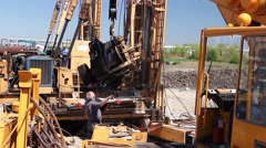 Mobile crane is operating and lifting a broken part in truck. Stock Footage