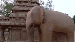 Tilt MS of a statue in Mahabalipuram, India Stock Footage