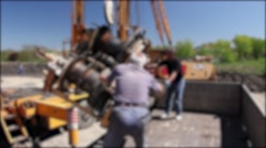 Blurred mobile crane on truck is loading spare part. Stock Footage