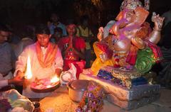 JAISALMER, INDIA - SEPTEMBER 9th: Celebration of the Lord Ganesha during Gane - stock photo