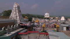 Pan very WS of Radha-Govinda Temple in Tirupati, India Stock Footage