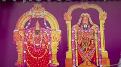 Zoom CUS of wall paintings in Tirupati, India Stock Footage