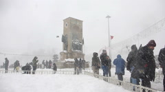 The Republic Monument in winter in Taksim Istanbul (Editorial) Stock Footage