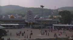 Pan WS of square in Tirupati, India Stock Footage