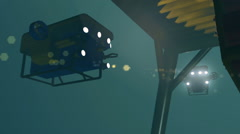 ROV working on subsea equipment under a protection structure, 3D animation Stock Footage