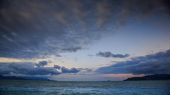 Getting Dark under Clouds Motion over Bay at Sunset Stock Footage