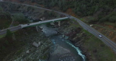 Flying Down the American River Towards the Old Rainbow Bridge - stock footage
