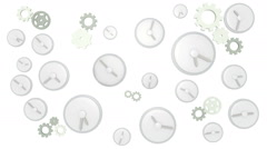 Clocks ticking on white background - stock footage