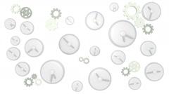 Clocks ticking on white background Stock Footage