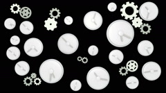 Clocks ticking on black background Stock Footage