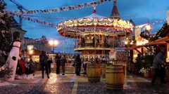 People on Christmas market on Red Square in Moscow, Russia - stock footage