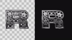 Stock Video Footage of rendered in PNG with alpha channel loop metal and gears letter r
