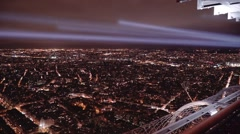 Paris aerial nightscape, slow pan over the north of the city - stock footage