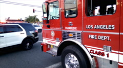 LAFD Ladder Truck Stock Footage
