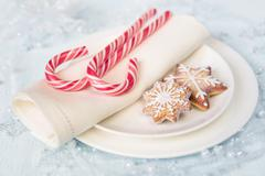 Christmas table with sweets Stock Photos