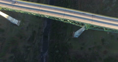Flying over the Foresthill Bridge - stock footage
