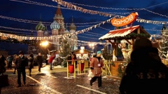 Christmas market on Red Square in Moscow, Russia - stock footage