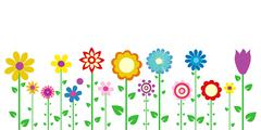 colorful spring flowers vector illustration - stock illustration